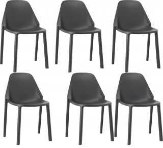 SCAB DESIGN - Chaise Lot de 6 chaises Piu anthracite