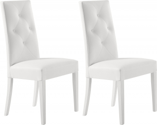 DOMINO - Chaise Lots de 2 chaises Shabby blanche