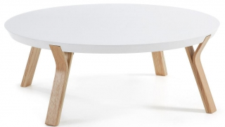 LF - Table basse Solid plateau blanc structure frêne diamètre 90 cm