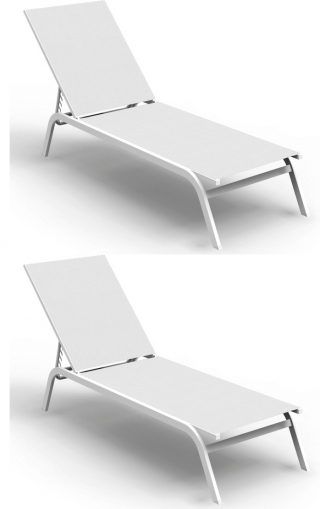 TALENTI - Chaise longue Step 2 chaises longues blanches