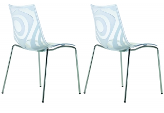 SCAB DESIGN - Chaise Lot de 2 chaises Wave tansparente et blanc