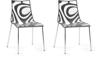 SCAB DESIGN - Chaise Lot de 2 chaises Wave tansparente et anthracite
