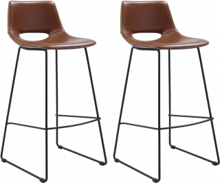 LF - Tabouret de bar Lot de 2 tabourets Ziegler marron