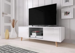 Meuble TV SWEDEN blanc mat / blanc brillant